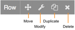 Menu option icons that appear when mousing over a row on a page.